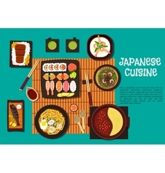 Japanese cuisine seafood dishes with hot pot icon vector