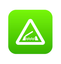 lifting bridge warning sign icon digital green vector image