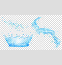 Light blue water crown drops and splash of water vector