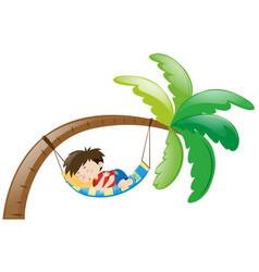 Little boy sleeping on hammock vector