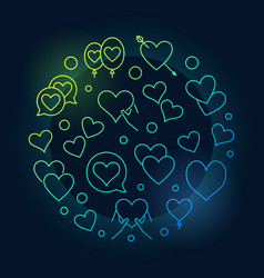 lots of hearts valentines day line vector image