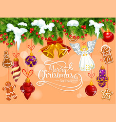Merry christmas tree ornament greeting card vector