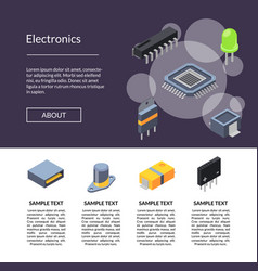 microchips and electronic parts icons vector image