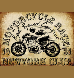 motorcycle racing typography graphics and poster vector image