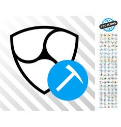 Nem mining hammer flat icon with bonus vector
