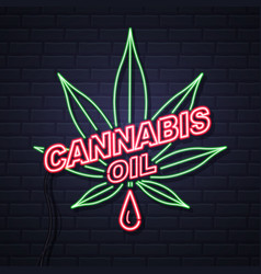 Neon cannabis oil and leaf sign on brick wall vector