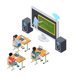 online education concept international vector image