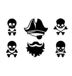 Pirate head icons with skull and crossed vector