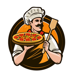 Pizzeria fast food logo or label happy chef vector