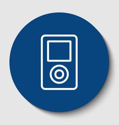 Portable music device white contour icon vector