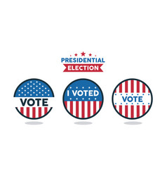 Presidential election lettering with set stamps vector