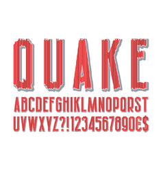 quake modern stylized alphabet letters numbers vector image