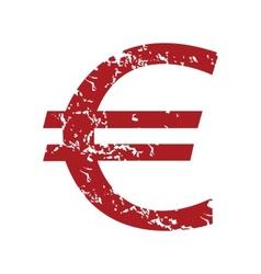 Red grunge euro logo vector