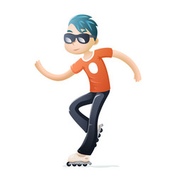 Rollerblading roller skate cartoon hipster geek vector