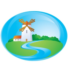 Rural background with mill vector