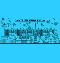 russia saint petersburg winter holidays skyline vector image