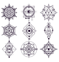 sacred geometry abstract symbols esoteric vector image