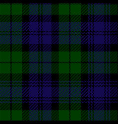 Scottish plaid in green black blue vector