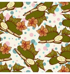 Seamless pattern with fresh green cucumbers vector