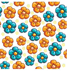 seamless texture with blue and yellow flowers vector image vector image