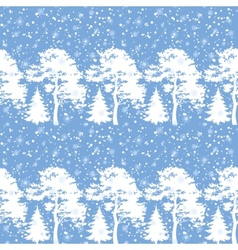 Seamless trees silhouettes and snow vector image