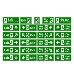 Set emergency fire exit green signs vector