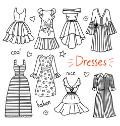 set of hand drawn women clothes dresses vector image