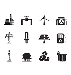 Silhouette Power and electricity industry icons vector image