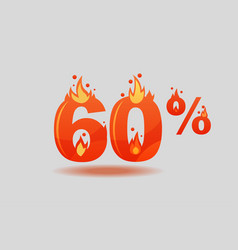 Sixty percent discount numbers on fire vector