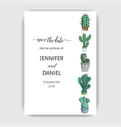 sketch hand drawn colorful invitation cactus card vector image