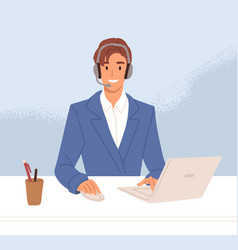 Smiling operator call center in headset vector