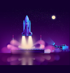 space shuttle launch from floating platform vector image