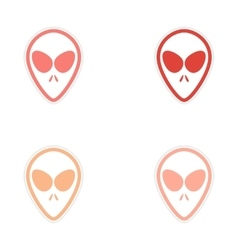 Sticker assembly alien with big eyes on a white vector