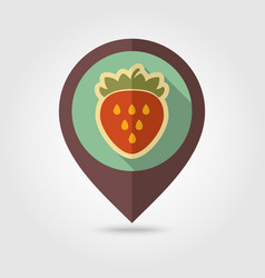 strawberry flat pin map icon berry fruit vector image