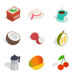 Teatime icons set isometric style vector