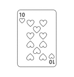 Ten of hearts french playing cards related icon vector