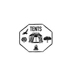 tents grunge retro logo vector image