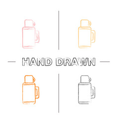 Thermos hand drawn icons set vector