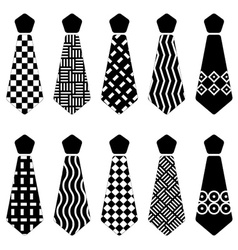 Tie black silhouettes vector