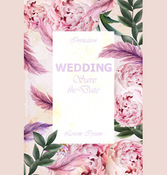 wedding invitation peonies bouquet vintage vector image