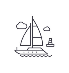 yacht line icon concept yacht linear vector image