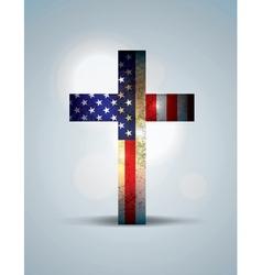 American Flag and Christian Cross vector image