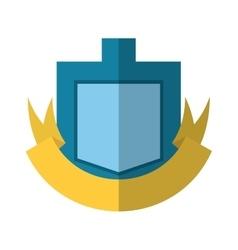 blue shield yellow ribbon badge shadow vector image