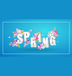 Hello spring floral design with blooming flowers vector