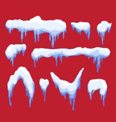 snow caps snowballs and snowdrifts set vector image