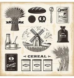 Vintage cereal set vector image vector image