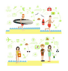 beach holidays in flat style vector image vector image