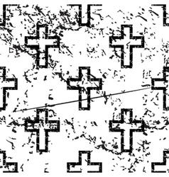 Catholic cross pattern grunge monochrome vector image