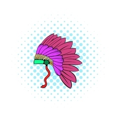 Native American feather headdress icon vector image