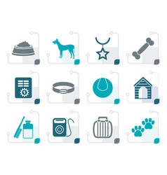 stylized dog accessory and symbols icons vector image